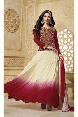 #Red And Off White Embroidered #Georgette Floor Length #Anarkali - #deepkalasilk