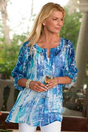 Love this! Silk Tides Tunic - Silk Tunic, Jeweled Neckline, Three-quarter Length Sleeves !