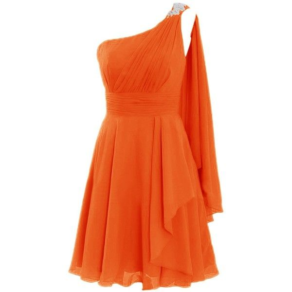 Diyouth Short One Shoulder Appliques Bridesmaid Dresses Ruffles Party... ($87) ❤ liked on Polyvore featuring dresses, gowns, lullabies, one shoulder short dress, short evening dresses, evening party dresses, bridesmaid gowns and orange gown