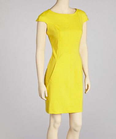 Take a look at this Canary Yellow Dress - Petite by Sharagano on #zulily today!