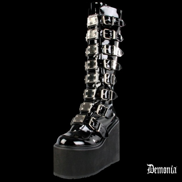 (Pointure 38.5) Bottes Demonia SWING-815 Noires vernies (Pointure 38.5)
