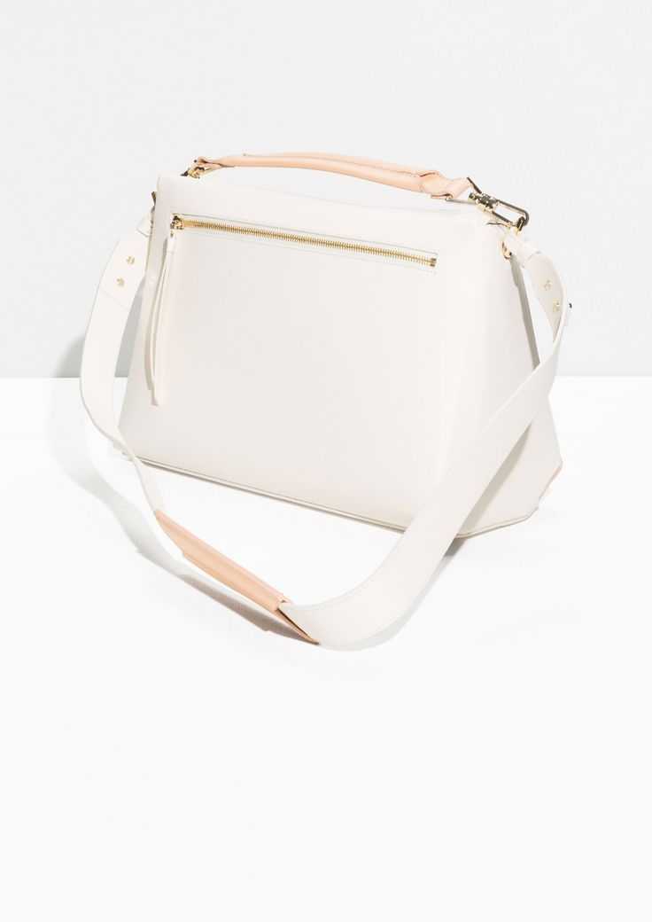 Trapezoid Colour Blocked Leather Bag | White/Powder Pink