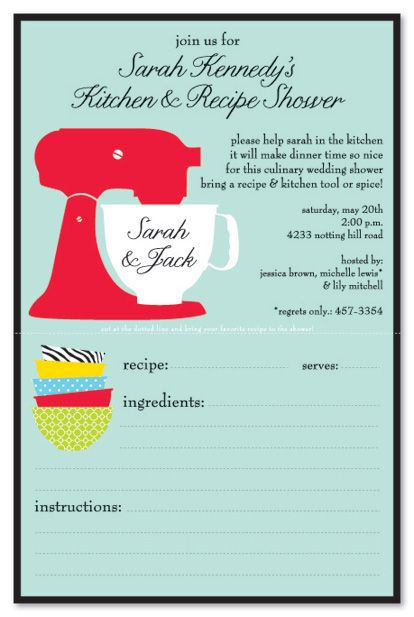 Kitchen Party Invitation With Perforated Recipe Card If