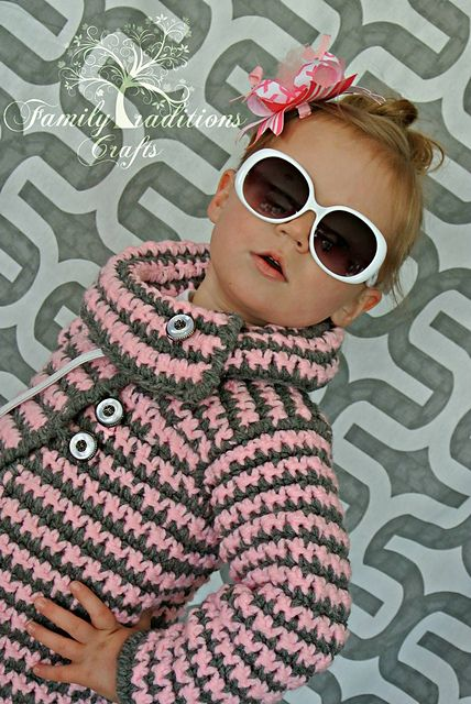 Crochet Pattern: Houndstooth Girls Jacket by A Crocheted Simplicity $ 6 USD ✿⊱╮Teresa Restegui http://www.pinterest.com/teretegui/✿⊱╮