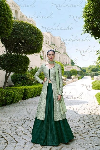 LOOK FABULOUS WITH THIS Pista Green HEAVY EMBROIDERED ANARKALI STYLE BEST INDIAN FROCK STYLE EUPHORIA DRESS by NAKKASHI