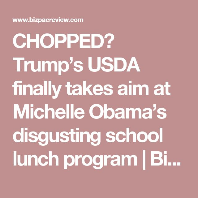 CHOPPED? Trump's USDA finally takes aim at Michelle Obama's disgusting school lunch program | BizPac Review