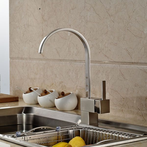 Contemporary Brushed Nickel Kitchen Sink Faucet Single Lever Hot and Cold Water Kitchen Tap Deck Mount