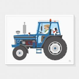 Super vrolijke poster met een stoere blauwe trekker ;van ;Showler and Showler. Zie jij je kleine man al op de trekker zitten?
