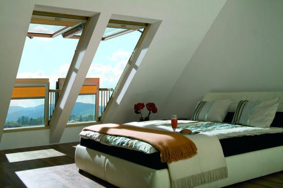 Roof windows as doors to the balcony