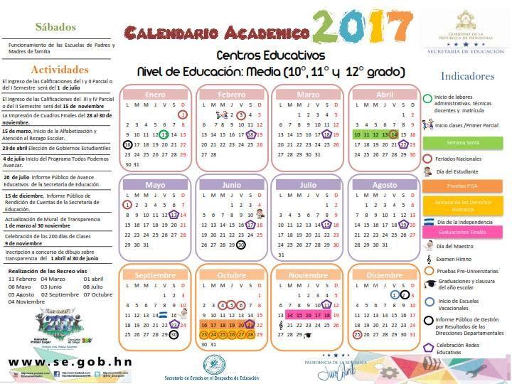 Resultado de imagen para calendario academico secretaria de educacion honduras 2017