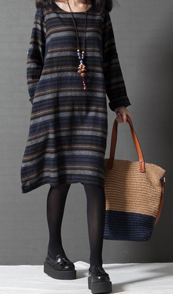 New Women loose fit stripes pocket dress tunic Bohemian Boho long sleeve casual #unbranded