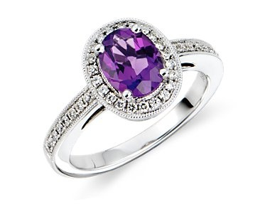 [blue nile - Amethyst and Diamond Ring]