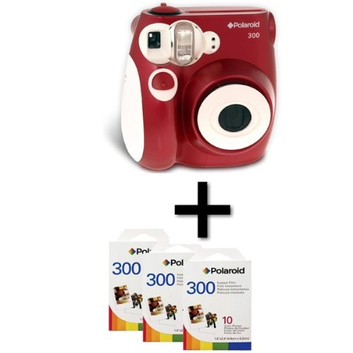 Polaroid 300 Instant Camera - Red and 30 Film