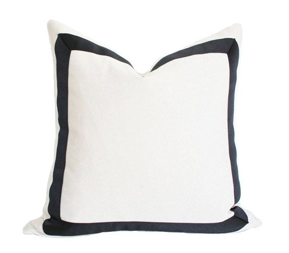 Cream Pillow Cover with Black Grosgrain Ribbon 19x19. $82.00, via Etsy.