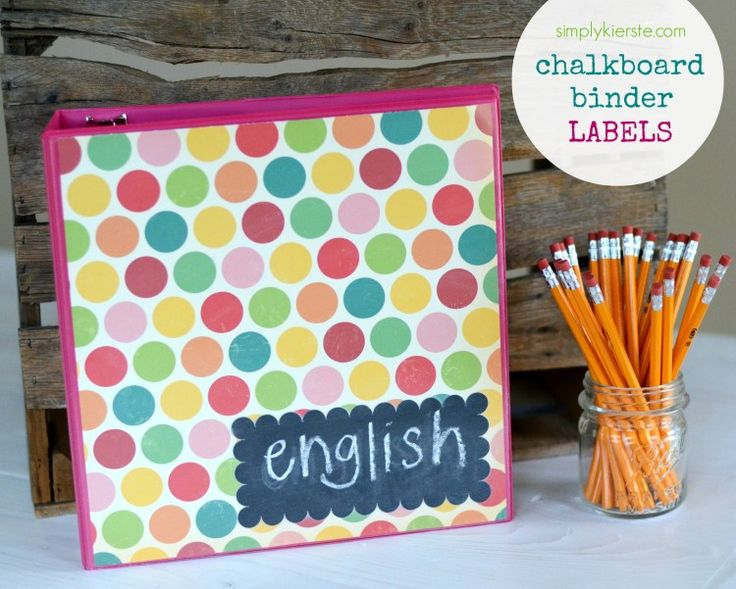 {chalkboard binder labels} such a smart project for back to school!