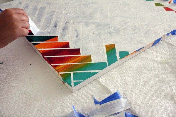 Good Easy Acrylic Painting Ideas For Beginners With Remove The Strips Of Tape To Reveal Your Painting Underneath
