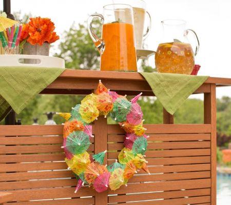 Cocktail umbrella wreath (from Jill Bauer, QVC)