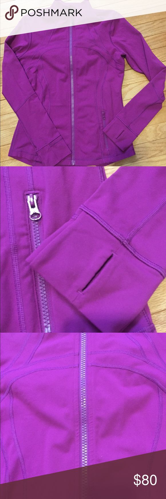 """Lululemon Tender Violet Define Jacket Lululemon Define Jacket Gorgeous magenta/purple color  Logo on zipper pull and back of jacket  Thumb holes  Vent on back with mean fabric (see photo)  No size tag (fits me and I'm a 10)  Length: 26"""" Bust: 18"""" Sleeve length: 25"""" (Some pilling under armpits)   All measurements are as accurate as possible lululemon athletica Jackets & Coats"""