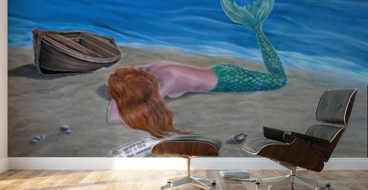 Mural Print, mermaid, home decor, ideas, wall art, for sale, painting, coastal,scene,sandy,beach,fish,merpeople,fantasy,sea,message in a bottle,shells,nude,feminine,wooden,boat,marine,nautical,lying,romantic,mythological,magical,vivid,colorful,aqua,blue,beautiful,awesome,cool,figurative,imaginary realism, images,modern,items,hand painted,pictorem