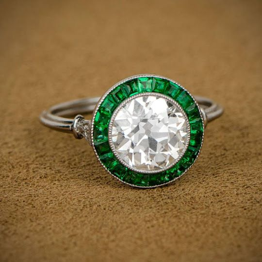 Gryphonnest Post Art Deco Diamond And Emerald Ring Art