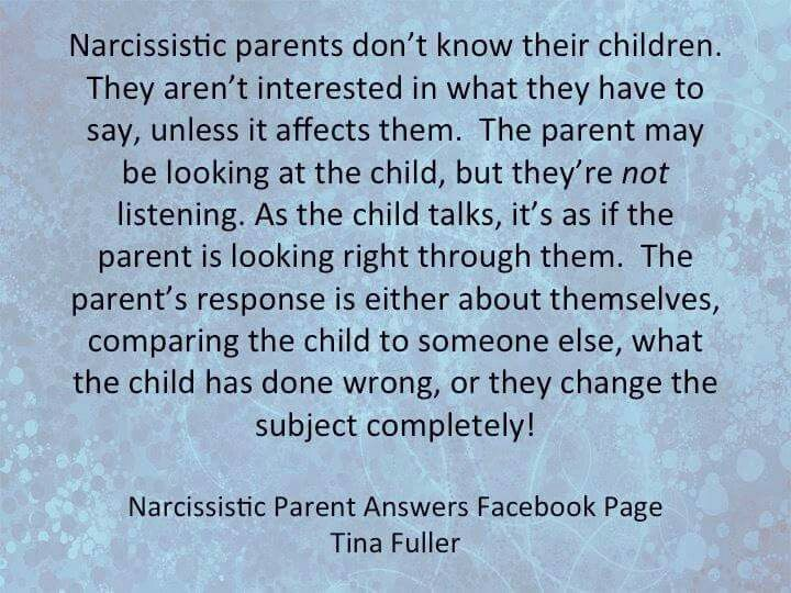 The narcissistic father. Or... Tiptoe, because they will rage at you for…