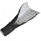Hammock Gear Burrow 50 -  a lightweight sleeping bag quilt that takes the insulation of a traditional sleeping bag and puts it all on the top and sides, leaving the back (which insulation is compressed and unusable anyway) open. Many hammockers use top quilts in lieu of a traditional sleeping bag because they are easier to slide into when it's time to sleep.The Burrow is designed with a foot box and a cinched top. Comes complete with a stuff sack and storage bag. $170