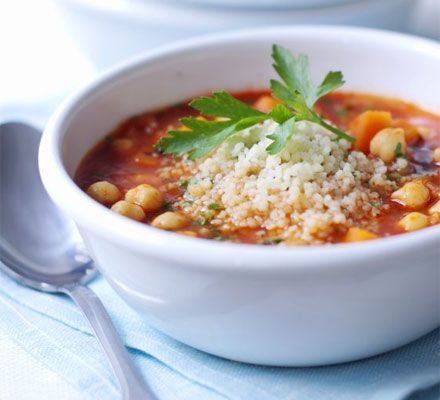Spiced tomato & couscous soup - I love this soup as the broth is light and spicy while the cous cous and chickpeas add some depth and bite. It's really filling, and low in calories too.