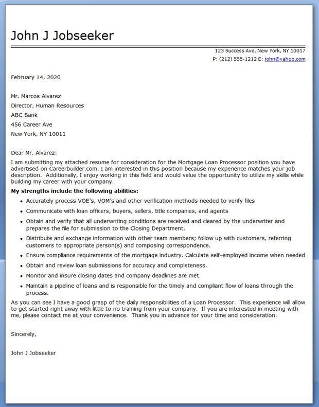Sample Cover Letter Mortgage Loan Processor  Creative