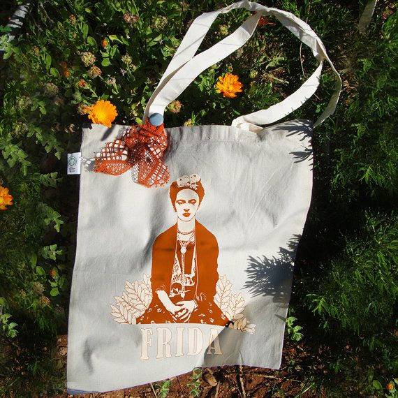 Frida Kahlo tote bag  Organic Fair Trade  color: by RooftopCo