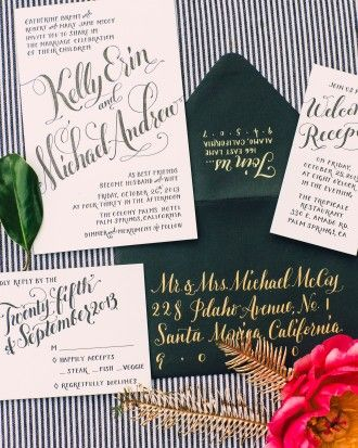 "Kelly wanted her stationery suite to look ""gorgeous and glamorous,"" so she chose heavy card stock edged in emerald green and dramatic black envelopes addressed with gold calligraphy to accompany the letterpressed invites. More inspiration from her wedding is online - just follow the link!"