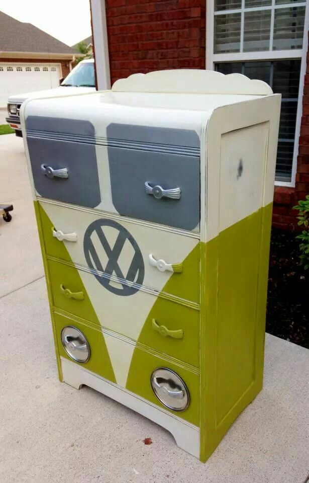 VW Bus recycled dresser