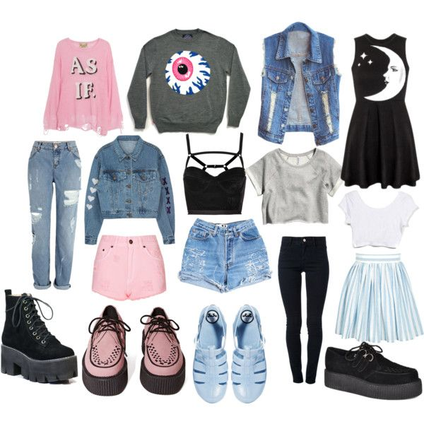 """Pastel goth/grunge staple items"" by thelovelymonalisa on Polyvore"