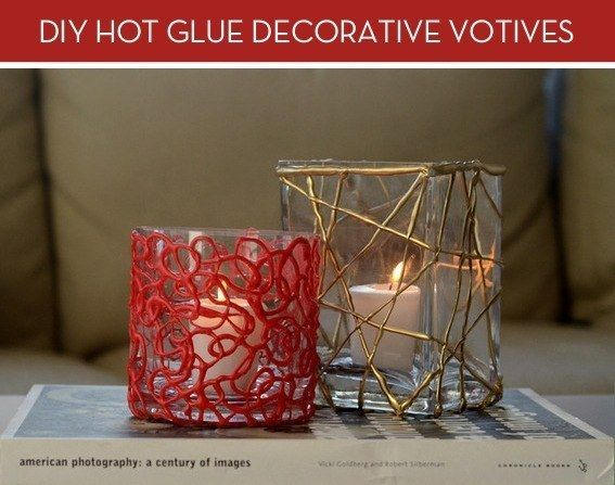 Deck out plain old votives with some hot glue and paint. | 17 Insanely Cool Things You Can Do With A Hot Glue Gun