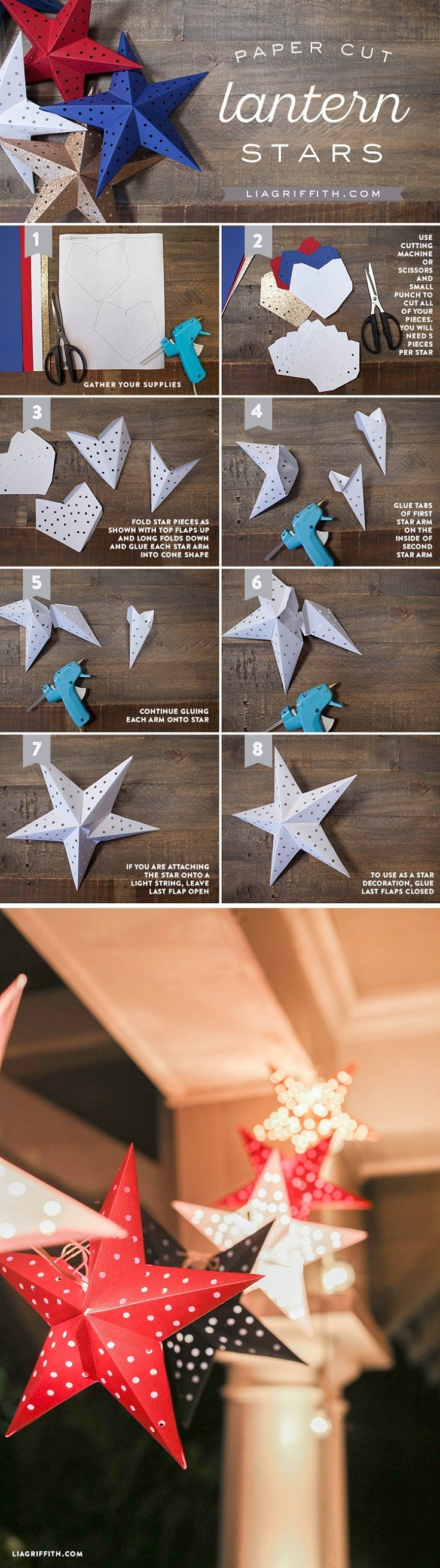 Fourth of July Paper Star Lights Garland - There's no point in decorating your yard for the 4th of July if you're not planning on making the prettiest garland ever. And we're here to help you find it, and we present to you the paper star lights garland. It works as a garland and you can put lights in it too, it's perfect! Just follow the instruction and you'll make it in no time.