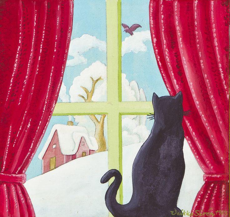 Veikko Siren: Kiss istus aknal, 1973, öljy, 24x24 cm - Hagelstam A137