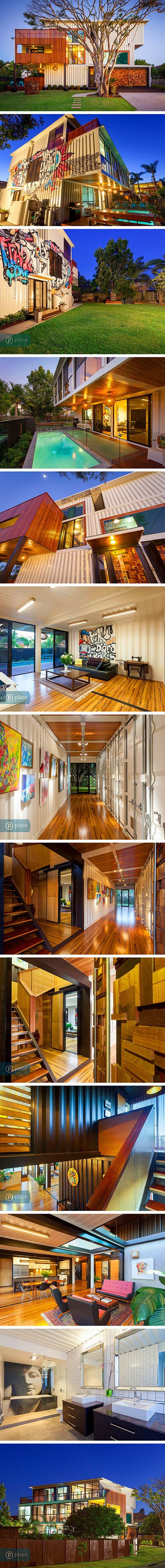 You might not realize it, but this house in Graceville, Australia was built from 31 shipping containers. The large freights are typically used to send goods overseas, but in this case they form a unique and modern living space. Todd Miller of the architecture firm ZeilgerBuild designed the three story, 6,000 square-foot home whose backyard includes an outdoor saltwater pool. Both the interior and exterior are a nod to the industrial nature of the building's materials.