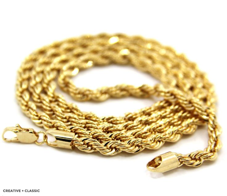 14K Gold Plated Rope Chain Necklace