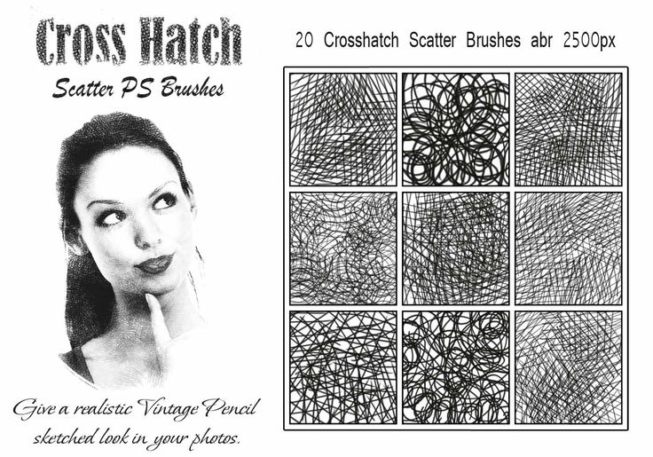20 Cross Hatch Scatter PS Brushes abr High Res 2500px Give