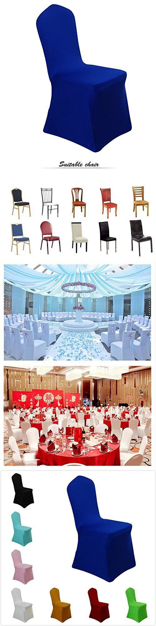Custom ikea dining chair cover now available via comfort works - Uniquemystyle Stretch Polyester Spandex Dining Chair Cover For Wedding Banquet Party Many Colors Royal Blue