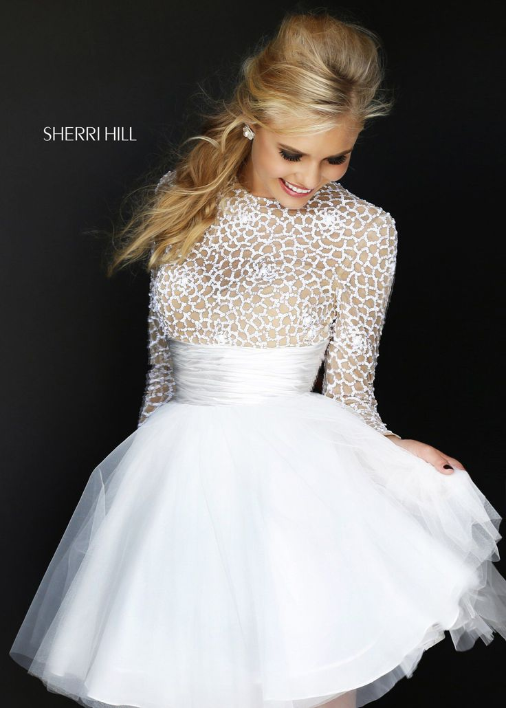 Sherri Hill 21233 - Ivory/Nude Sequin Short Prom Dresses Online
