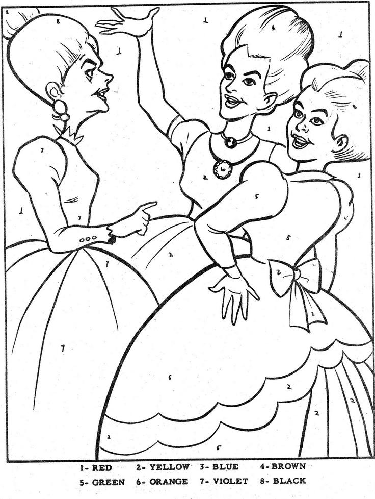 Color By Number Cinderella Coloring BooksCinderellaVintage