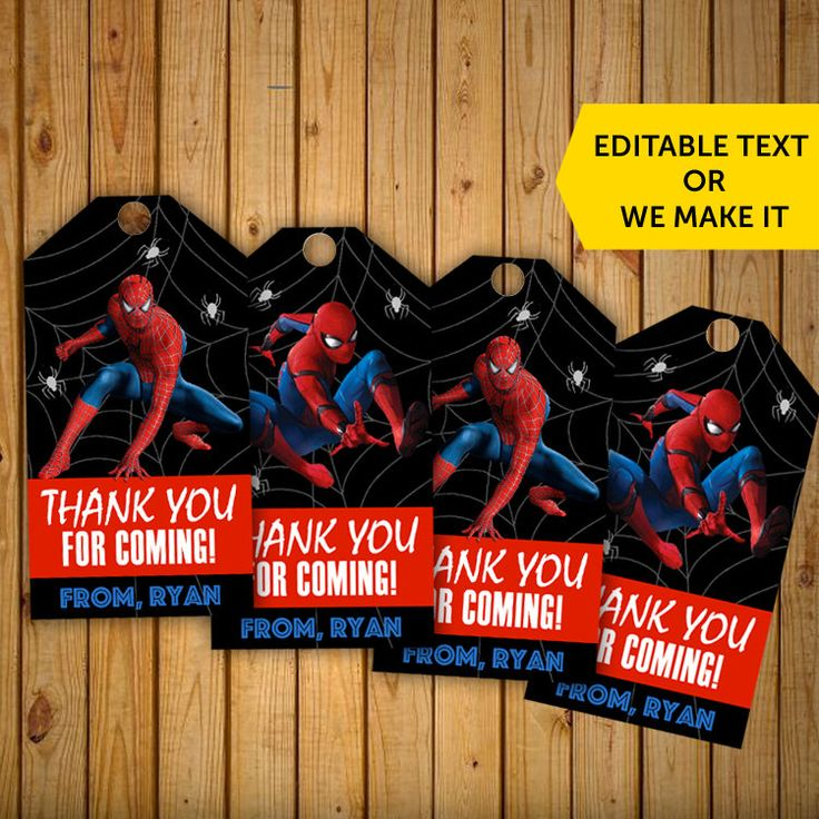 Spiderman Thank You Tags, Spiderman Thank You Stickers, Spiderman Thank You Cards, Spiderman Thank You, Super Hero Thank You Tags