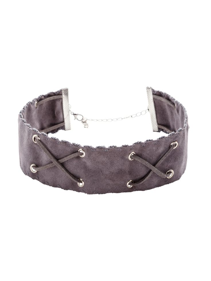 Grey Crisscross Band Wide Choker Necklace — 0.00 € --------------color: Grey size: None