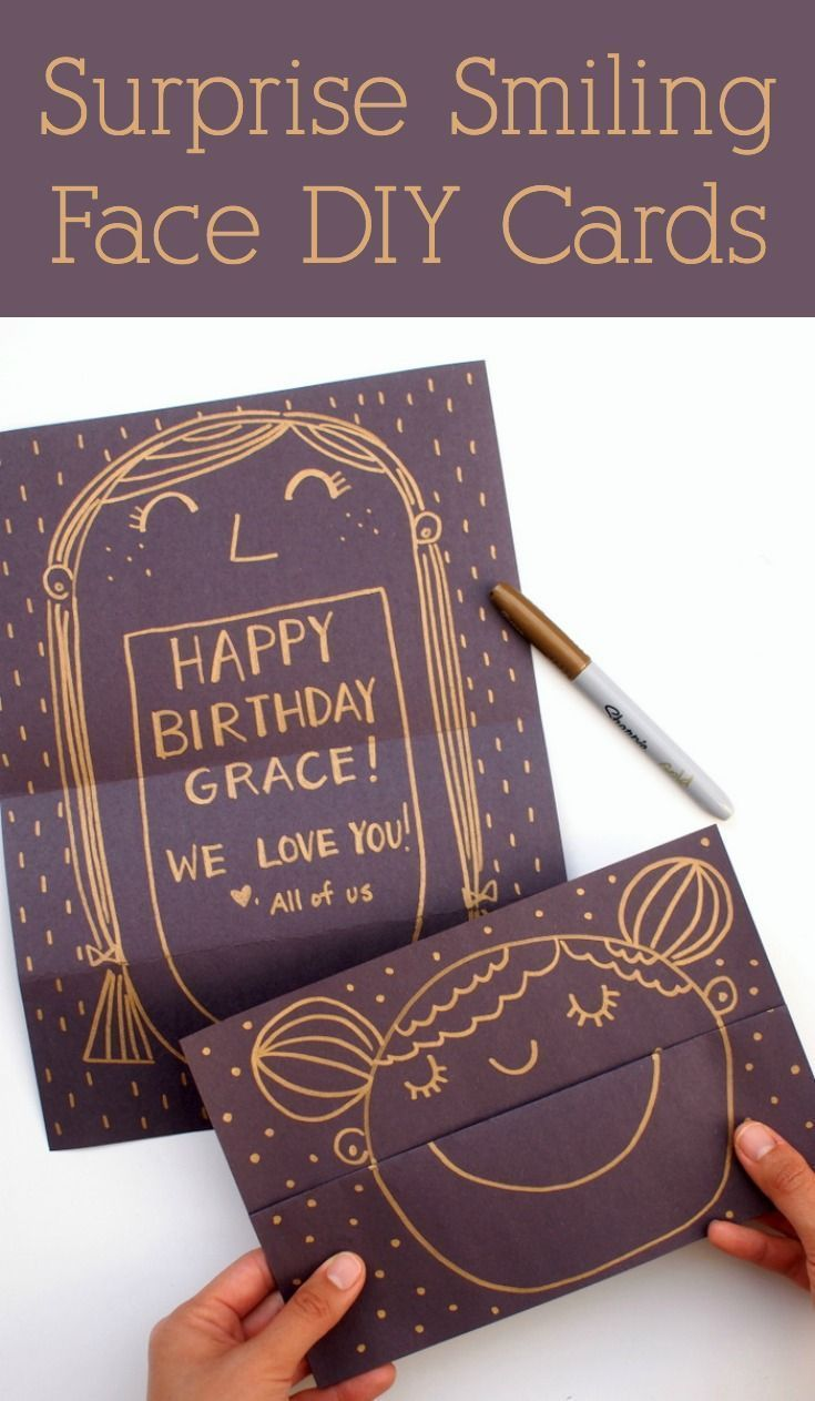 It's always fun finding greeting cards that surprise you! Make someone happy with these smiling face DIY cards with an unexpected message. This easy handmade card idea is great for birthday or for friends. via @diy_candy