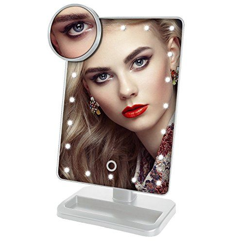 Beautify Beauties Lighted Makeup Mirror, Rotatable with Battery Operated LED Lights (White) + FREE Makeup Blush Brush. For product & price info go to:  https://beautyworld.today/products/beautify-beauties-lighted-makeup-mirror-rotatable-with-battery-operated-led-lights-white-free-makeup-blush-brush/