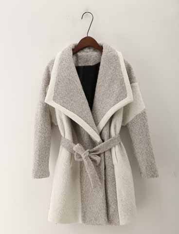 Fashionable Turn-Down Collar Long Sleeve Color Block Coat For Women