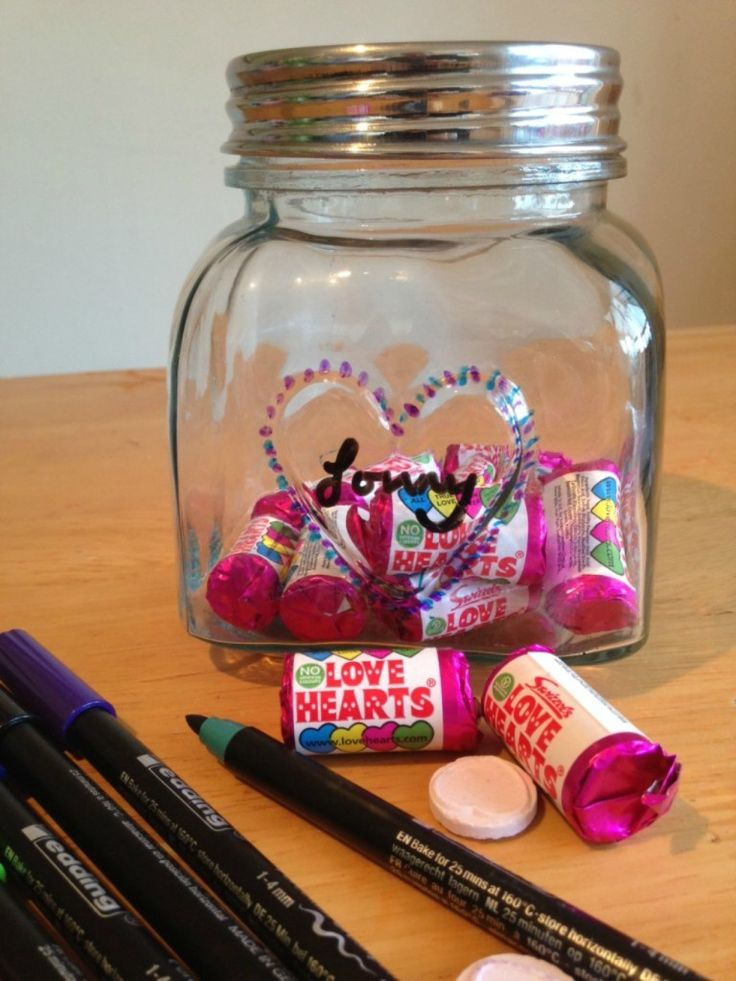 Valentine Crafting a sweetie jar. Homemade crafts for Valentines are just lovely