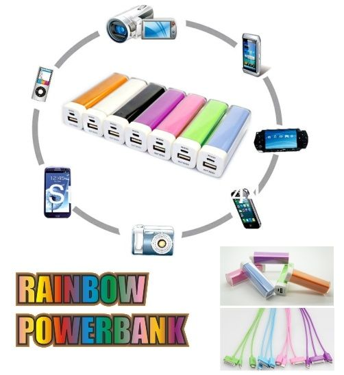 2200 maH Rainbow Powerbanks  Groovy Rainbow Colours  R125.00ea ex vat    Moq - 50 units  Free 1 colour print in 1 position!