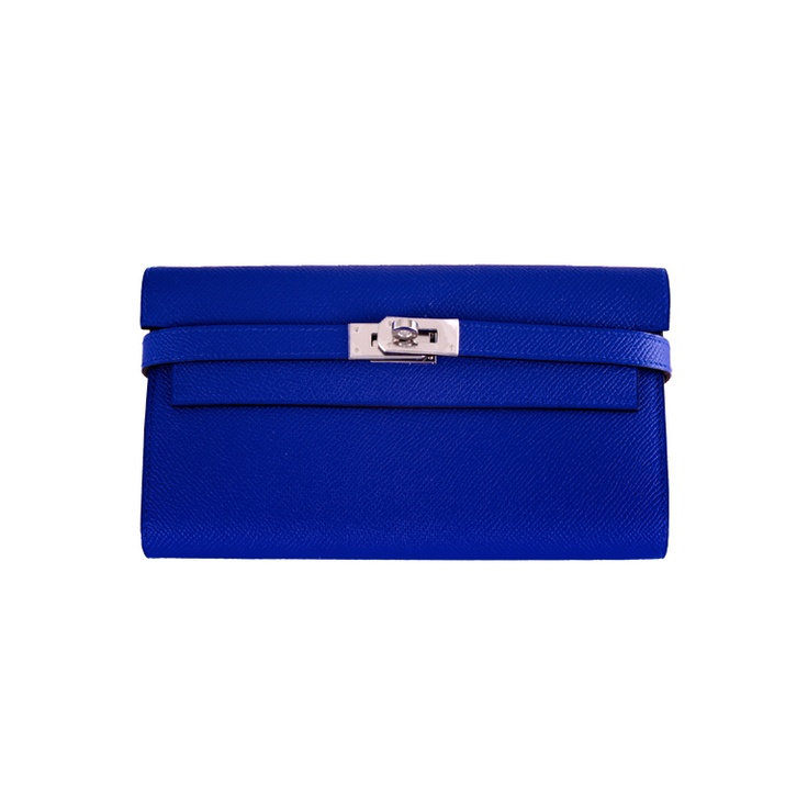 New hermes kelly long wallet / clutch blue electric epsom leathe ...