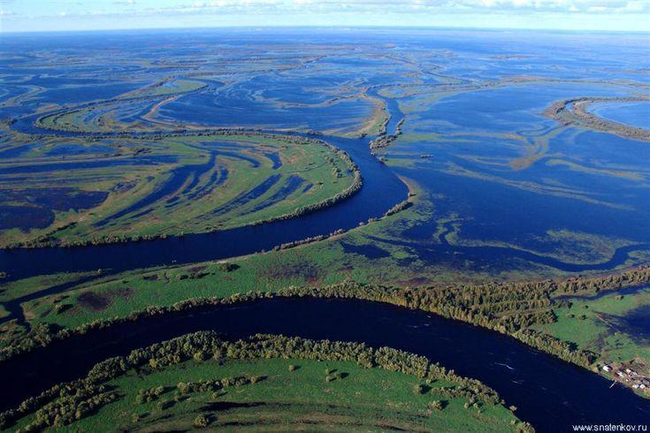 Река Обь во время разлива. Зап. Сиб. Равнина